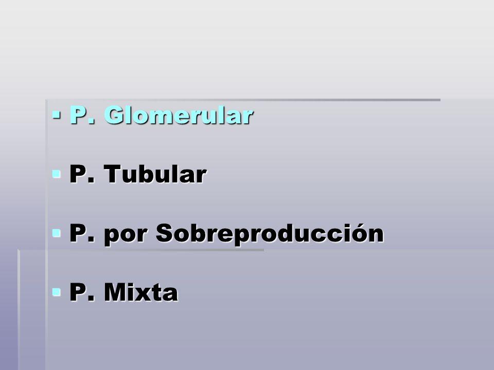 P. Glomerular P. Glomerular P. Tubular P. Tubular P. por Sobreproducción P. por Sobreproducción P. Mixta P. Mixta