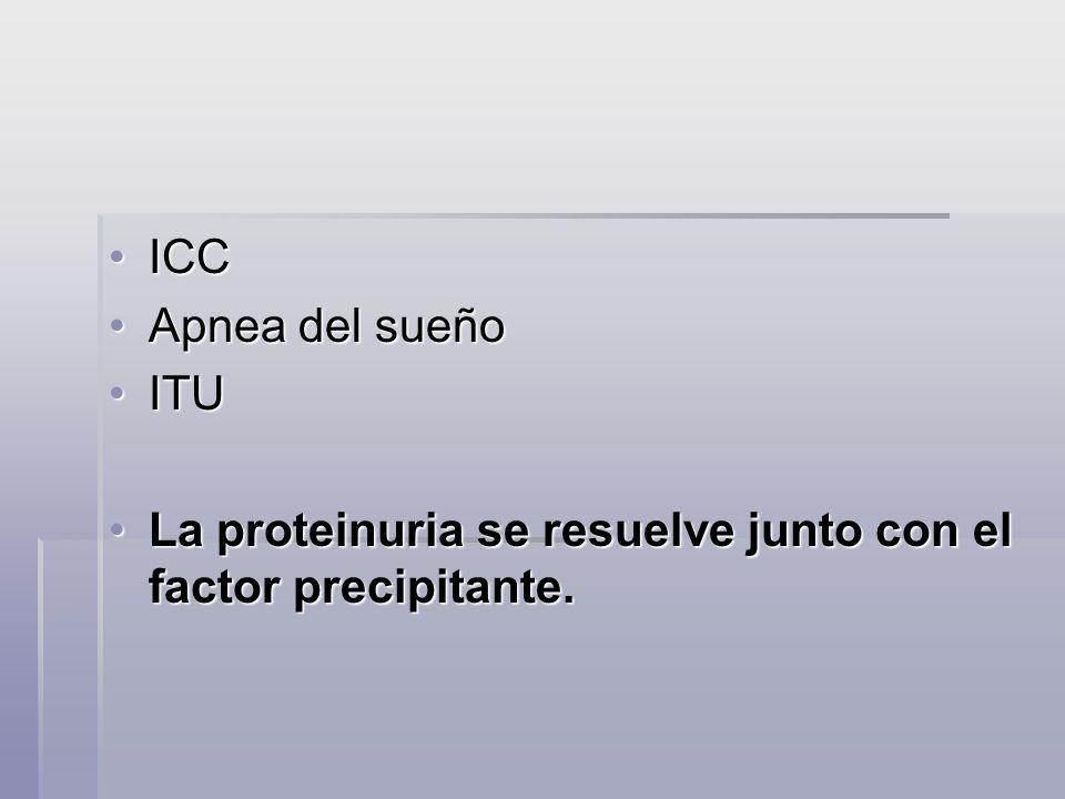 ICCICC Apnea del sueñoApnea del sueño ITUITU La proteinuria se resuelve junto con el factor precipitante.La proteinuria se resuelve junto con el facto