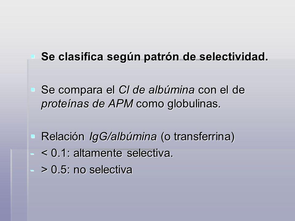 Se clasifica según patrón de selectividad. Se clasifica según patrón de selectividad. Se compara el Cl de albúmina con el de proteínas de APM como glo