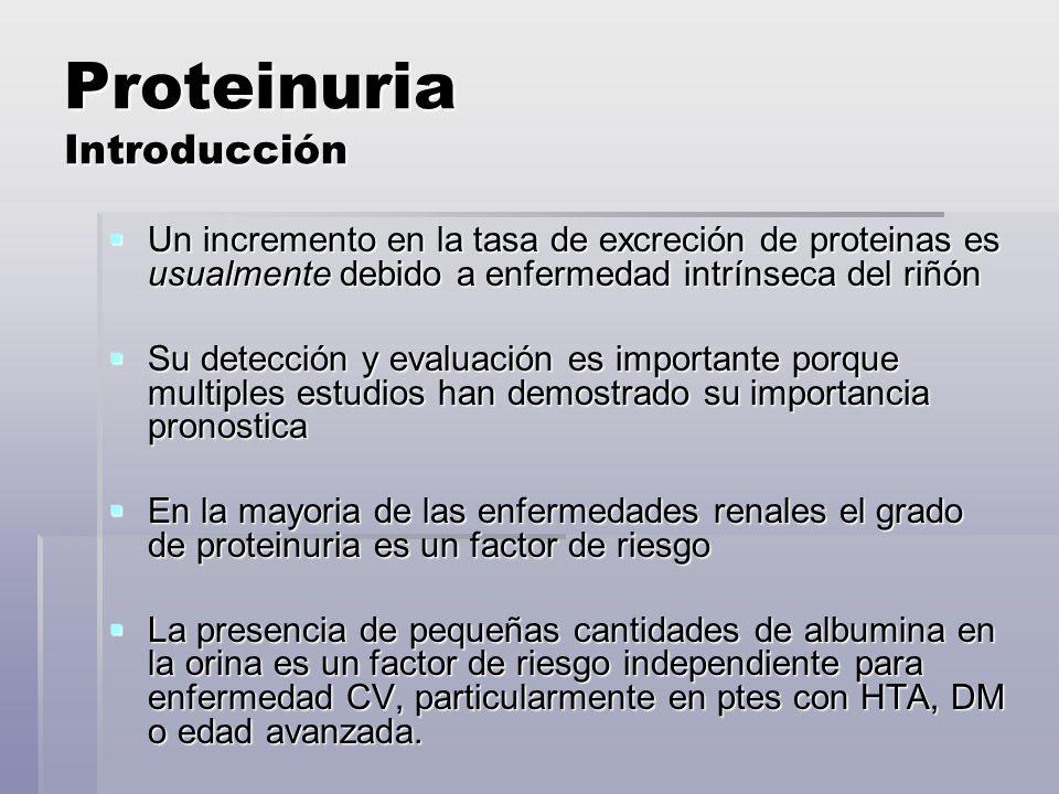 Proteinuria Introducción Juega un rol central en la patogénesis de la disfunción renal progresiva Juega un rol central en la patogénesis de la disfunción renal progresiva - aumento de la captación de proteinas por la células tubulares llevarian a una activación del complemento, secreción de endotelina 1, IL-8 y otras citoquinas proinflamatorias, que llevan a inflamación tubulointersticial.