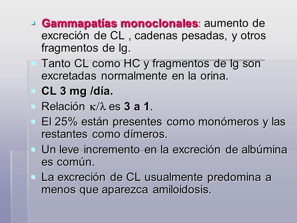 Gammapatías monoclonales : aumento de excreción de CL, cadenas pesadas, y otros fragmentos de Ig. Gammapatías monoclonales : aumento de excreción de C