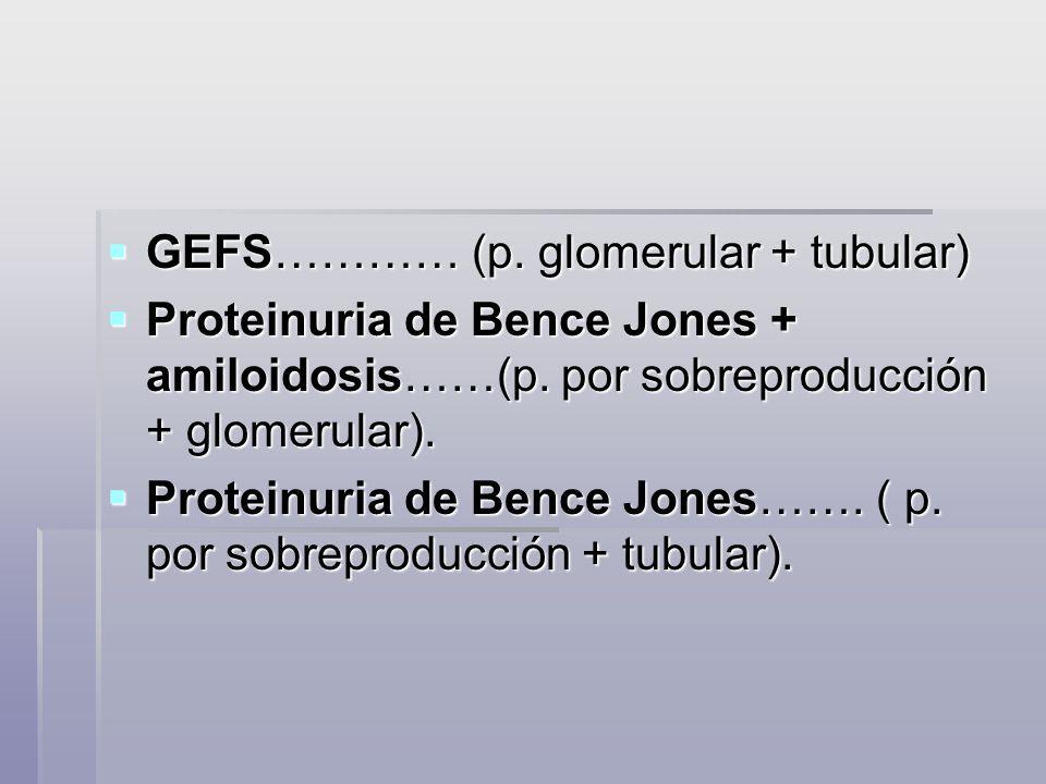 GEFS………… (p. glomerular + tubular) GEFS………… (p. glomerular + tubular) Proteinuria de Bence Jones + amiloidosis……(p. por sobreproducción + glomerular).
