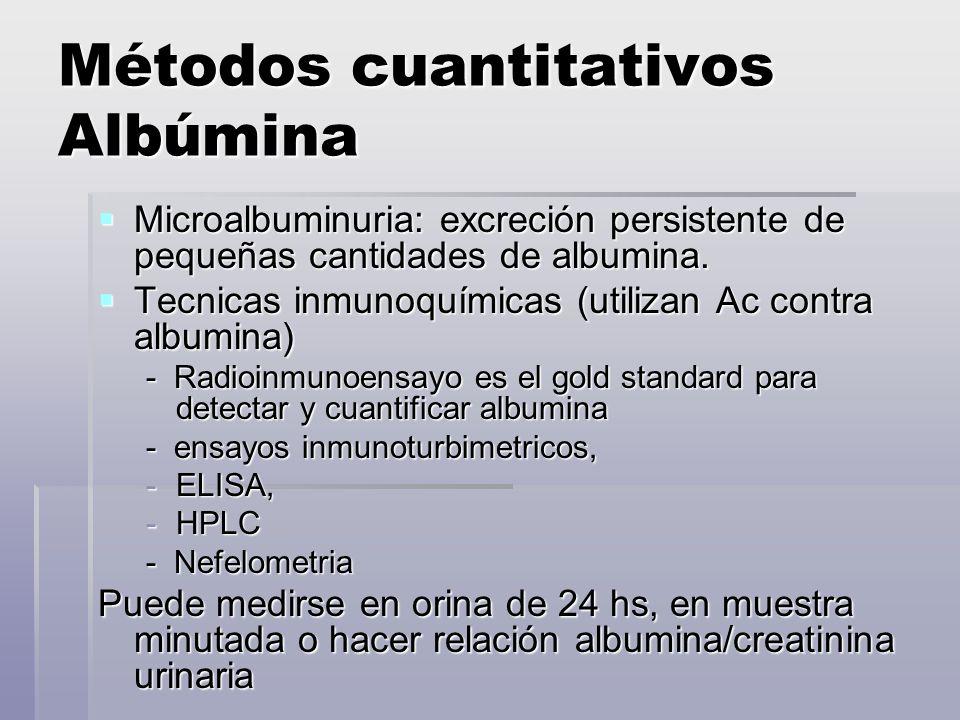Métodos cuantitativos Albúmina Microalbuminuria: excreción persistente de pequeñas cantidades de albumina. Microalbuminuria: excreción persistente de