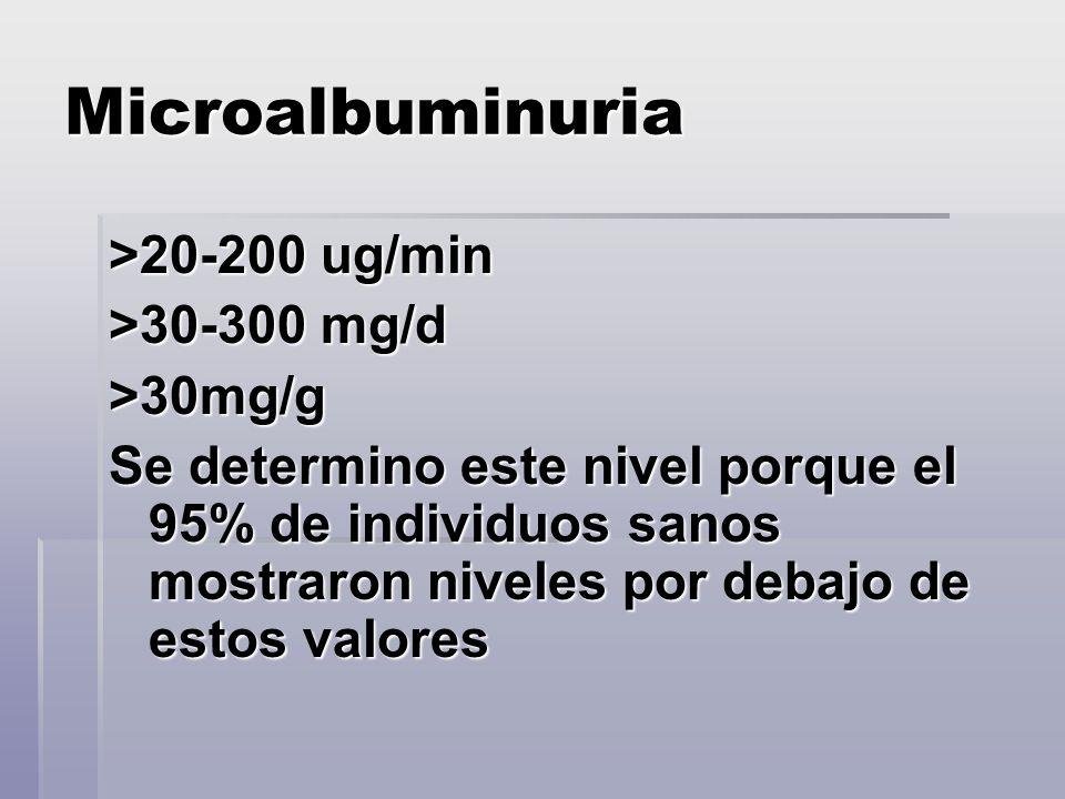 Microalbuminuria >20-200 ug/min >30-300 mg/d >30mg/g Se determino este nivel porque el 95% de individuos sanos mostraron niveles por debajo de estos v