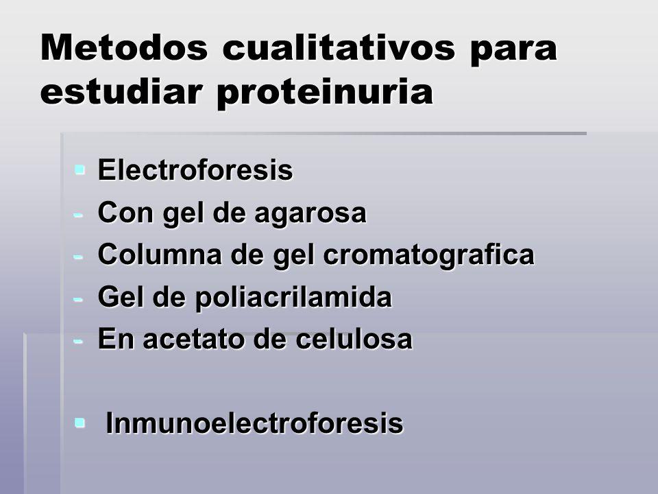 Metodos cualitativos para estudiar proteinuria Electroforesis Electroforesis -Con gel de agarosa -Columna de gel cromatografica -Gel de poliacrilamida