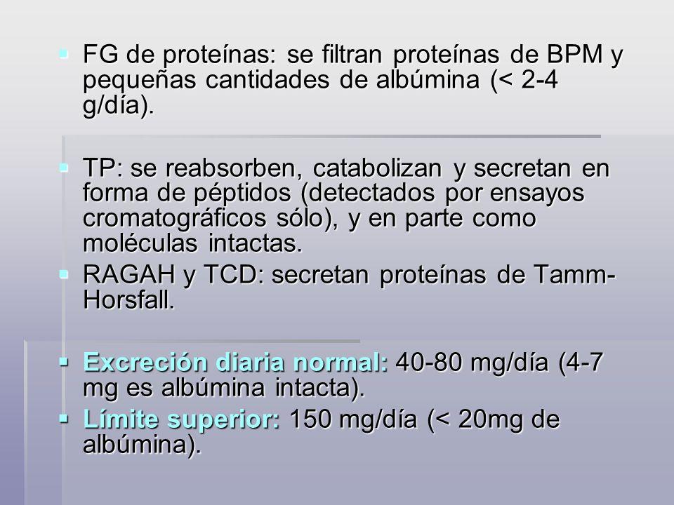 Métodos cuantitativos Relación Proteínas/Creatinina urinaria En una muestra al azar En una muestra al azar Método más nuevo y que está ganando popularidad Método más nuevo y que está ganando popularidad Se basa en que tanto la excreción de proteínas como de creatinina es estable durante el día Se basa en que tanto la excreción de proteínas como de creatinina es estable durante el día Es de valor cuando no se puede recolectar orina (niños, incontinencia) Es de valor cuando no se puede recolectar orina (niños, incontinencia) Se introduce otro factor de error al tener que medir creatinina Se introduce otro factor de error al tener que medir creatinina