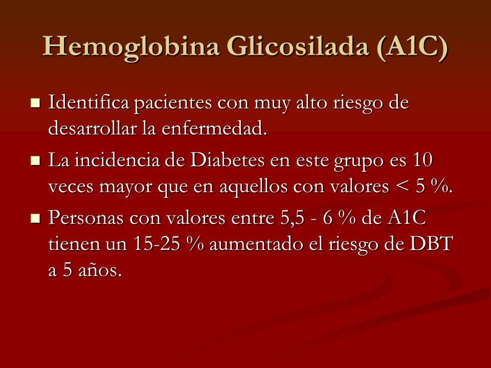 Hemoglobina Glicosilada (A1C) Ventajas: Más especifico (88%) y con mayor FPP que la glucemia en ayunas.