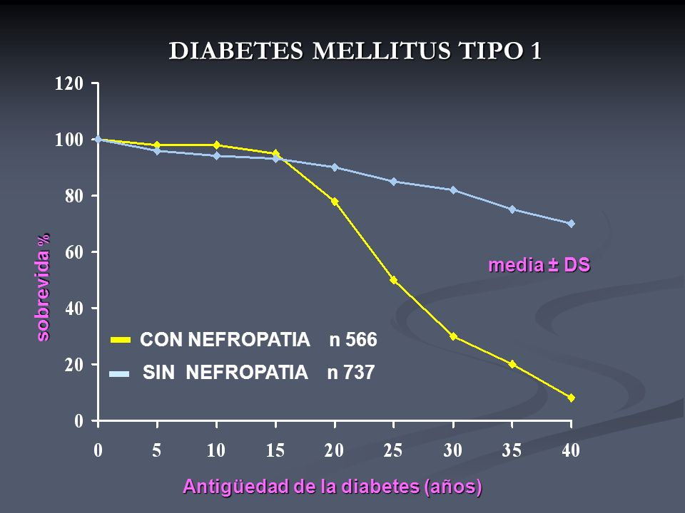 DIABETES MELLITUS TIPO 1 CON NEFROPATIA n 566 SIN NEFROPATIA n 737 Antigüedad de la diabetes (años) sobrevida % media ± DS