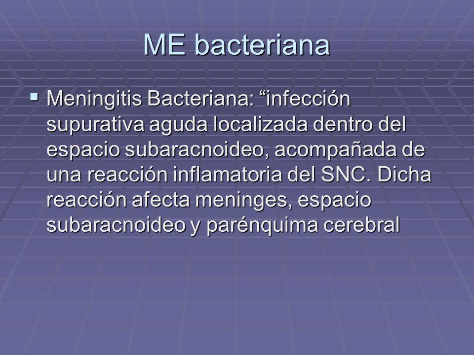 ME bacteriana Meningitis Bacteriana: infección supurativa aguda localizada dentro del espacio subaracnoideo, acompañada de una reacción inflamatoria d