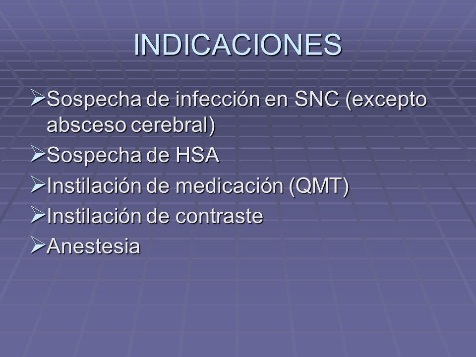 INDICACIONES Sospecha de infección en SNC (excepto absceso cerebral) Sospecha de infección en SNC (excepto absceso cerebral) Sospecha de HSA Sospecha