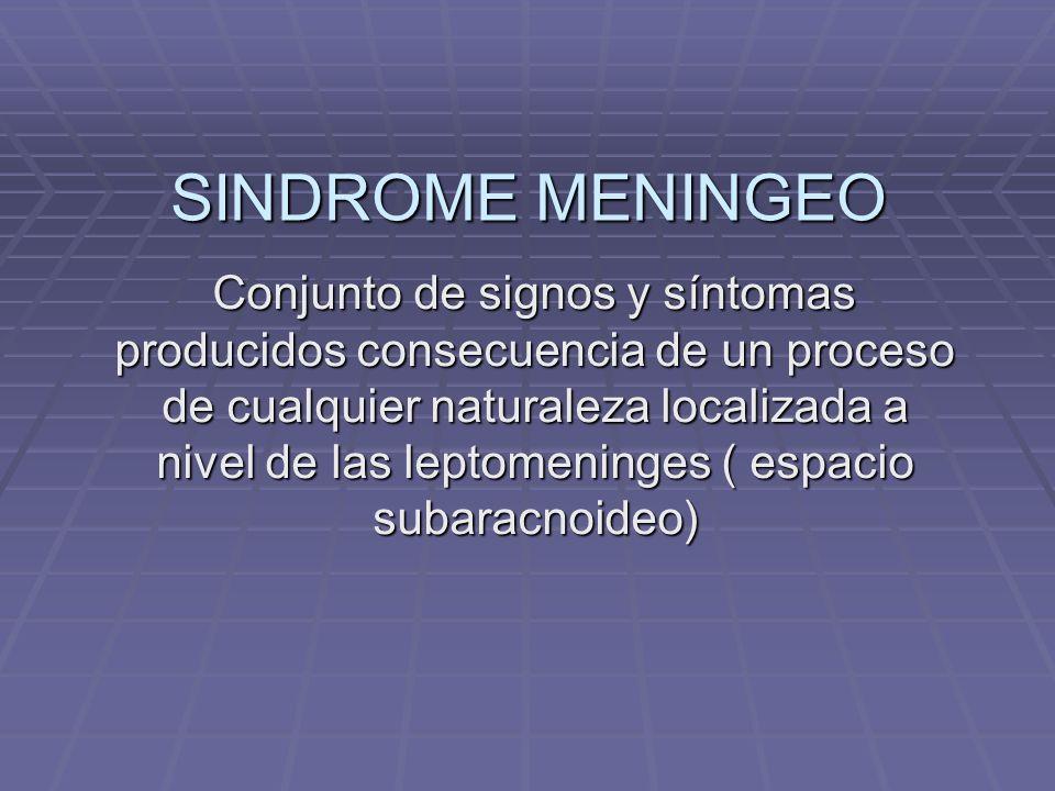 SINDROME MENINGEO Conjunto de signos y síntomas producidos consecuencia de un proceso de cualquier naturaleza localizada a nivel de las leptomeninges