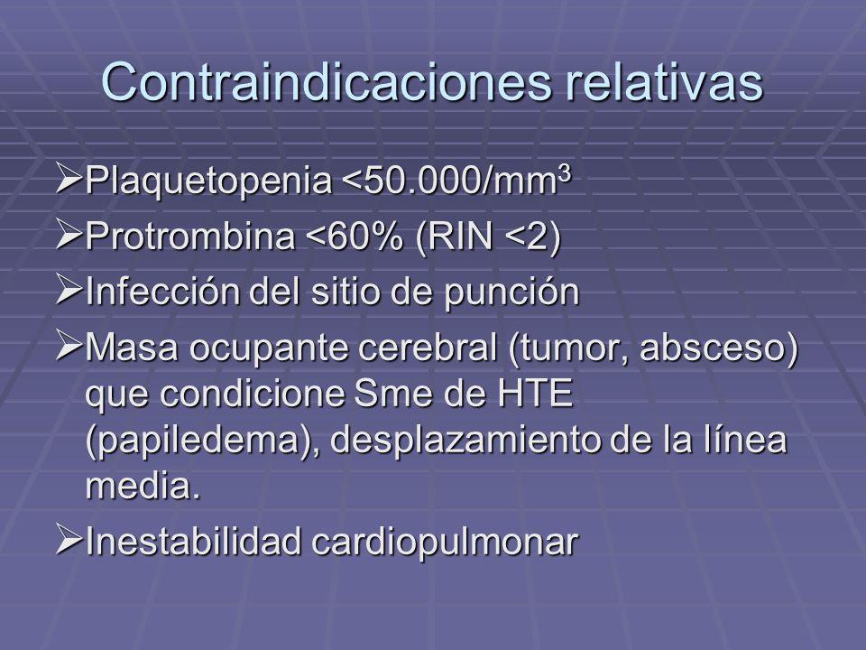 Contraindicaciones relativas Plaquetopenia <50.000/mm 3 Plaquetopenia <50.000/mm 3 Protrombina <60% (RIN <2) Protrombina <60% (RIN <2) Infección del s
