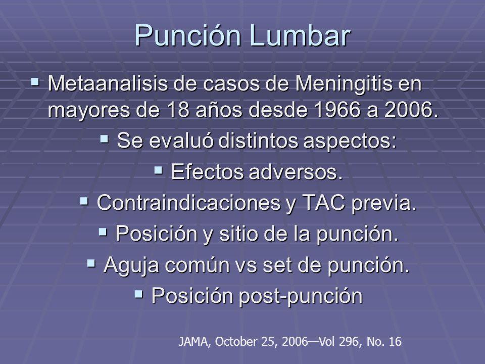 Punción Lumbar Metaanalisis de casos de Meningitis en mayores de 18 años desde 1966 a 2006. Metaanalisis de casos de Meningitis en mayores de 18 años