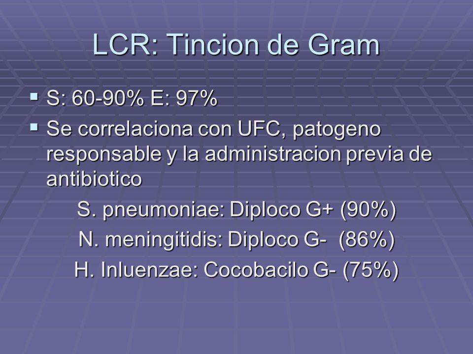 LCR: Tincion de Gram S: 60-90% E: 97% S: 60-90% E: 97% Se correlaciona con UFC, patogeno responsable y la administracion previa de antibiotico Se corr
