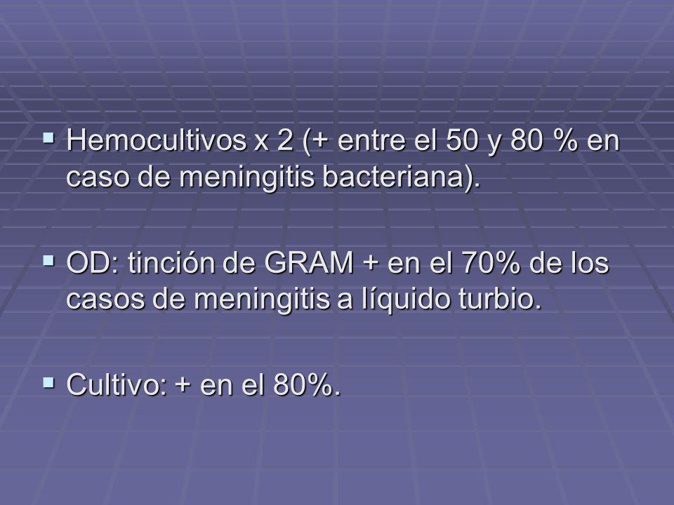 Hemocultivos x 2 (+ entre el 50 y 80 % en caso de meningitis bacteriana). Hemocultivos x 2 (+ entre el 50 y 80 % en caso de meningitis bacteriana). OD