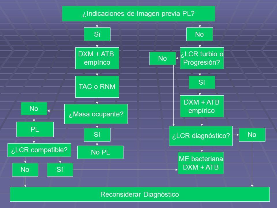 ¿Indicaciones de Imagen previa PL? SiNo DXM + ATB empírico TAC o RNM ¿Masa ocupante? Sí No PL ¿LCR turbio o Progresión? Sí DXM + ATB empírico ¿LCR dia