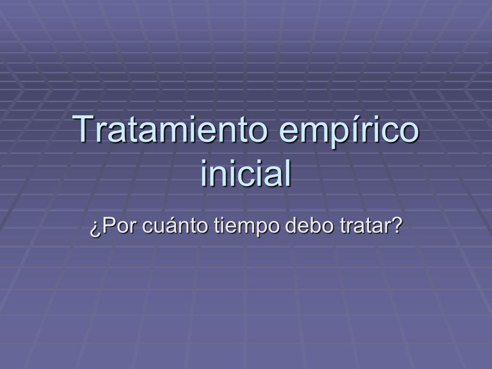 Tratamiento empírico inicial ¿Por cuánto tiempo debo tratar?