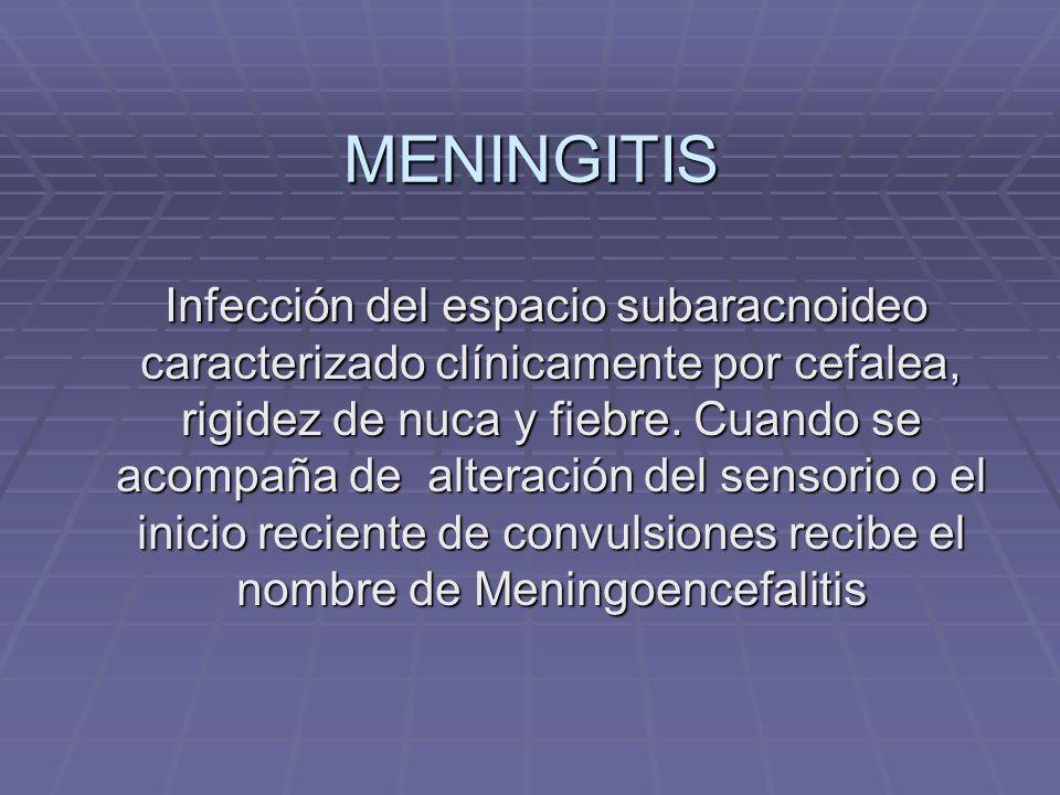 MENINGITIS Infección del espacio subaracnoideo caracterizado clínicamente por cefalea, rigidez de nuca y fiebre. Cuando se acompaña de alteración del