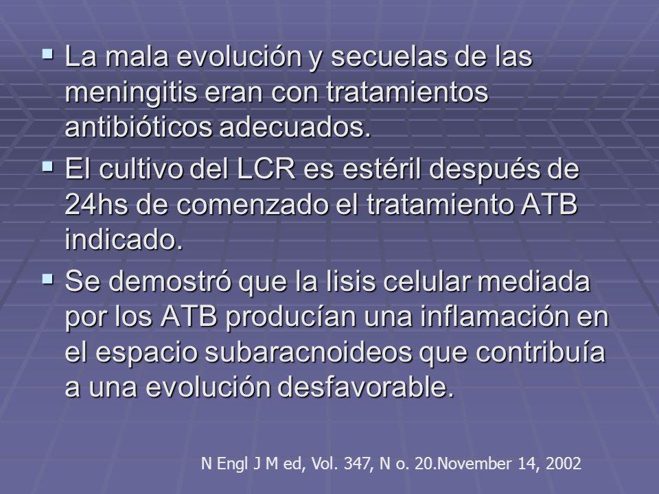 La mala evolución y secuelas de las meningitis eran con tratamientos antibióticos adecuados. La mala evolución y secuelas de las meningitis eran con t