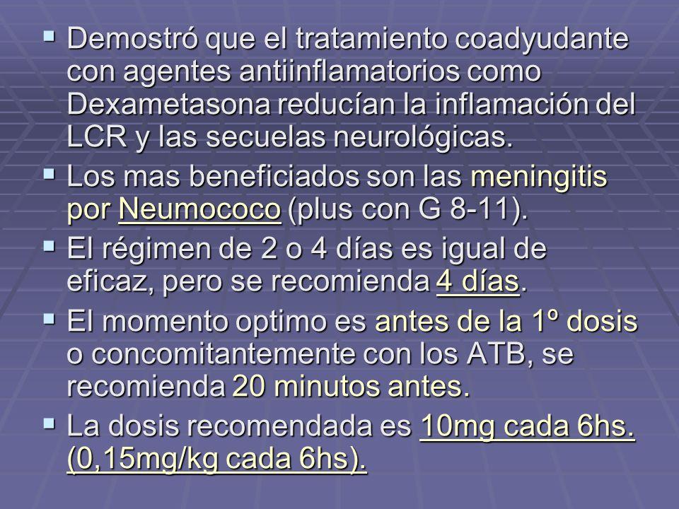 Demostró que el tratamiento coadyudante con agentes antiinflamatorios como Dexametasona reducían la inflamación del LCR y las secuelas neurológicas. D