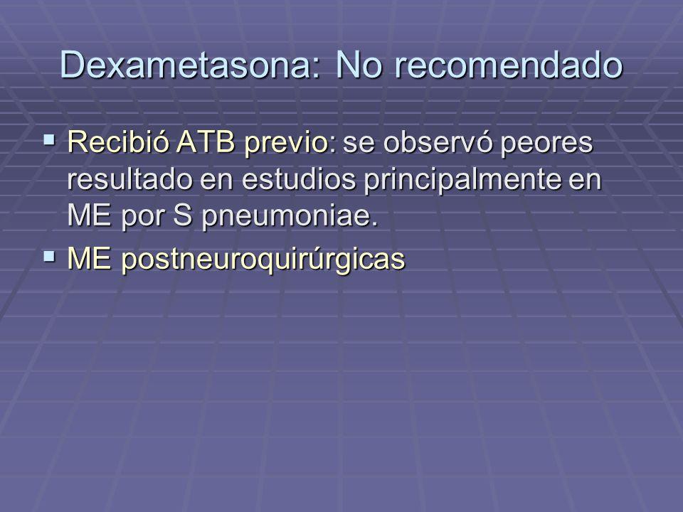 Dexametasona: No recomendado Recibió ATB previo: se observó peores resultado en estudios principalmente en ME por S pneumoniae. Recibió ATB previo: se