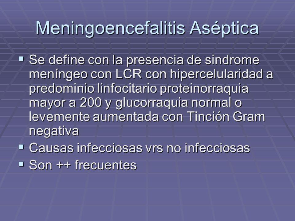 Meningoencefalitis Aséptica Se define con la presencia de sindrome meníngeo con LCR con hipercelularidad a predominio linfocitario proteinorraquia may