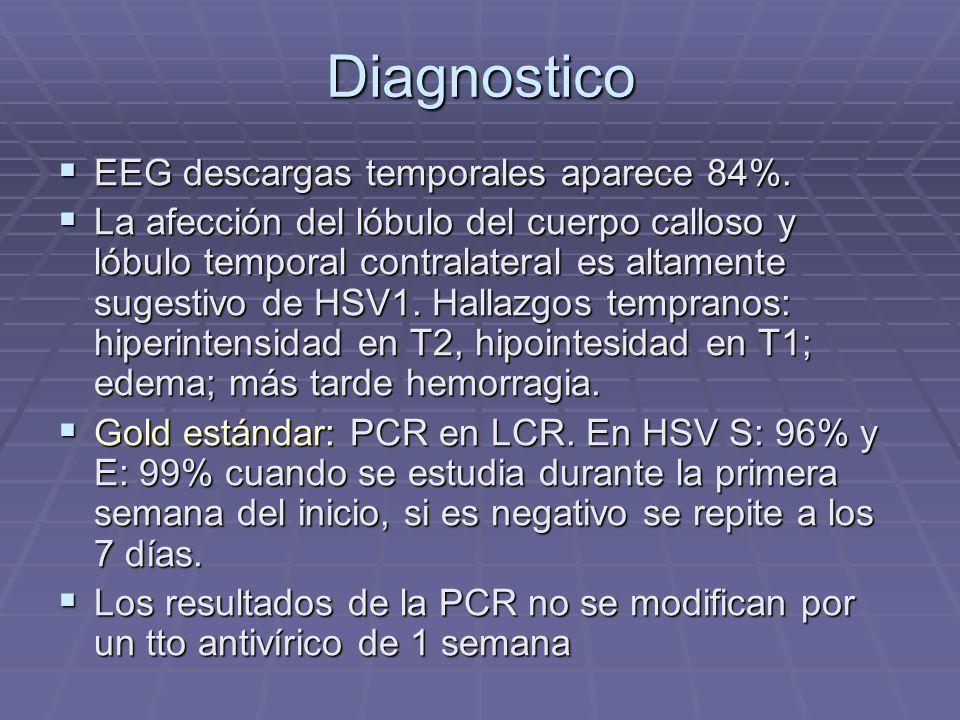 Diagnostico EEG descargas temporales aparece 84%. EEG descargas temporales aparece 84%. La afección del lóbulo del cuerpo calloso y lóbulo temporal co