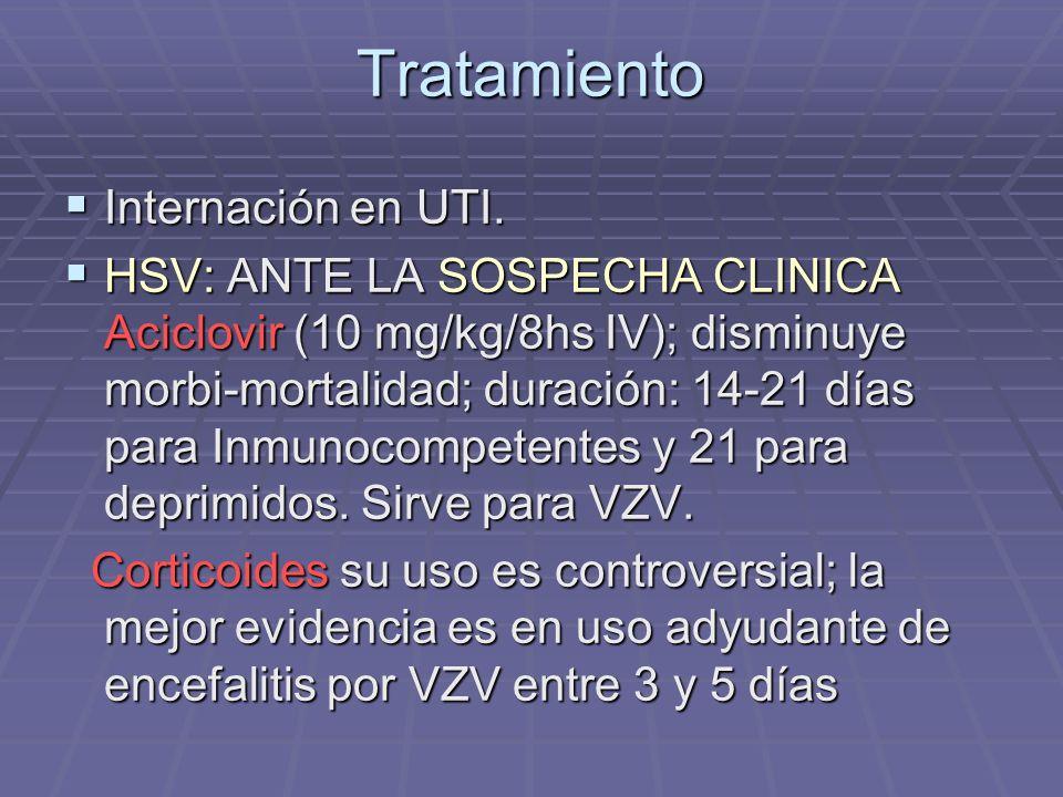 Tratamiento Internación en UTI. Internación en UTI. HSV: ANTE LA SOSPECHA CLINICA Aciclovir (10 mg/kg/8hs IV); disminuye morbi-mortalidad; duración: 1