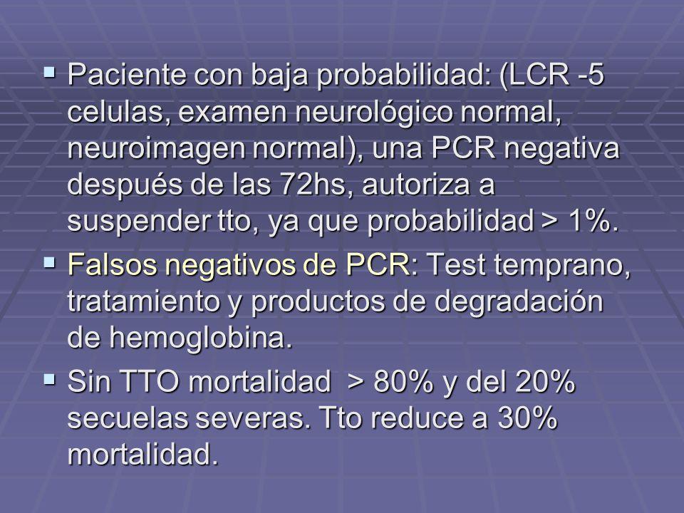 Paciente con baja probabilidad: (LCR -5 celulas, examen neurológico normal, neuroimagen normal), una PCR negativa después de las 72hs, autoriza a susp