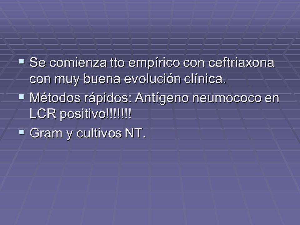 Se comienza tto empírico con ceftriaxona con muy buena evolución clínica. Se comienza tto empírico con ceftriaxona con muy buena evolución clínica. Mé