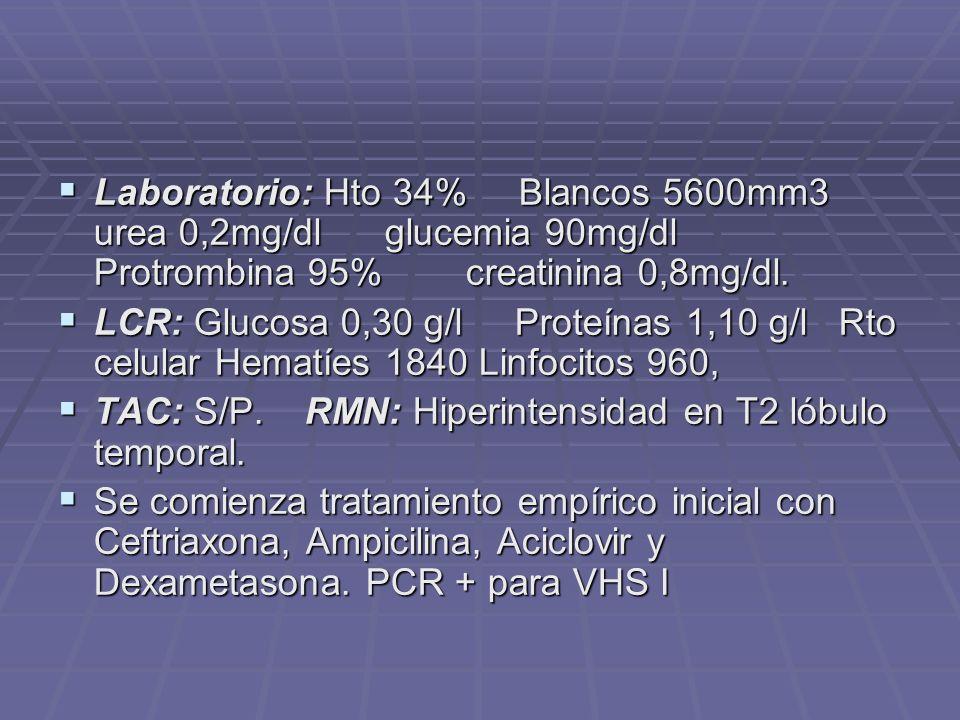 Laboratorio: Hto 34% Blancos 5600mm3 urea 0,2mg/dl glucemia 90mg/dl Protrombina 95% creatinina 0,8mg/dl. Laboratorio: Hto 34% Blancos 5600mm3 urea 0,2