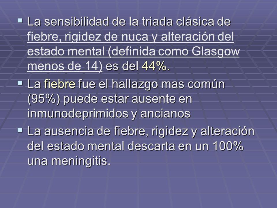 La sensibilidad de la triada clásica de es del 44%. La sensibilidad de la triada clásica de fiebre, rigidez de nuca y alteración del estado mental (de