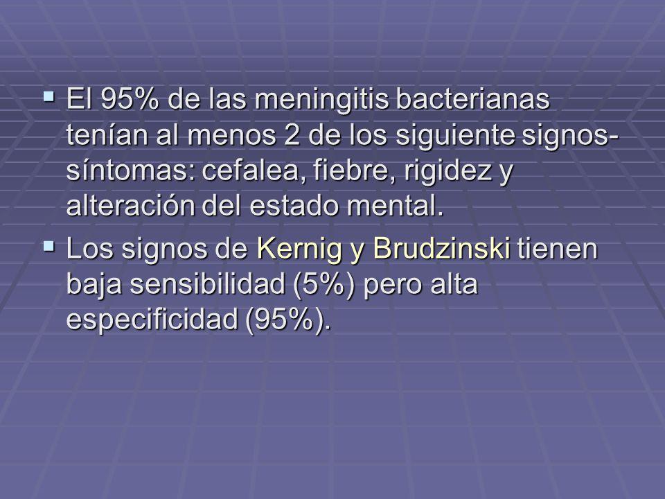 El 95% de las meningitis bacterianas tenían al menos 2 de los siguiente signos- síntomas: cefalea, fiebre, rigidez y alteración del estado mental. El
