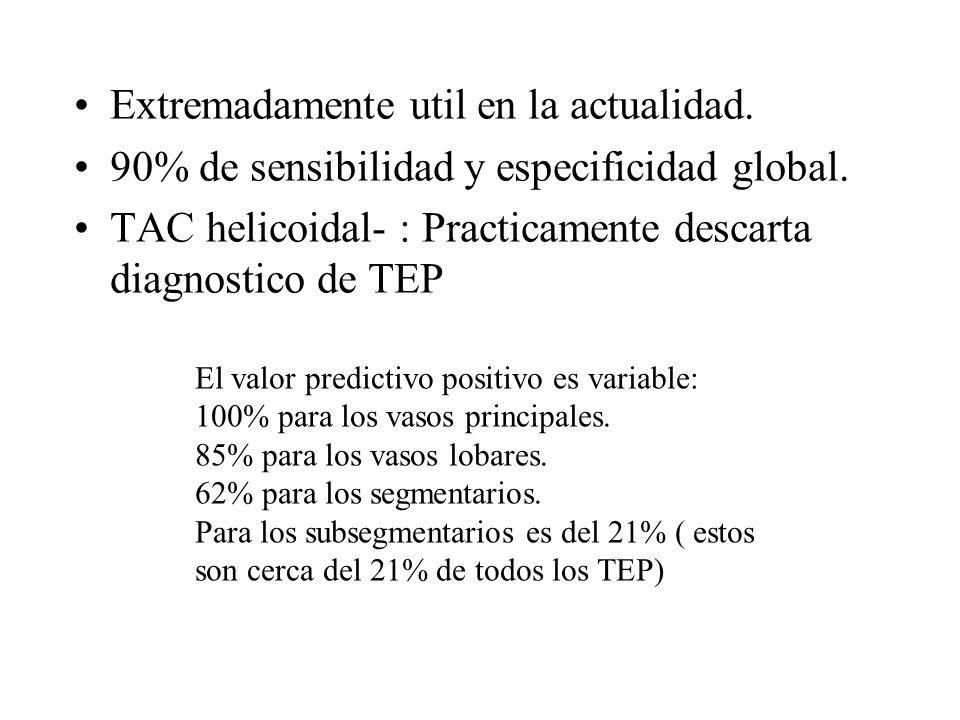 Extremadamente util en la actualidad. 90% de sensibilidad y especificidad global. TAC helicoidal- : Practicamente descarta diagnostico de TEP El valor
