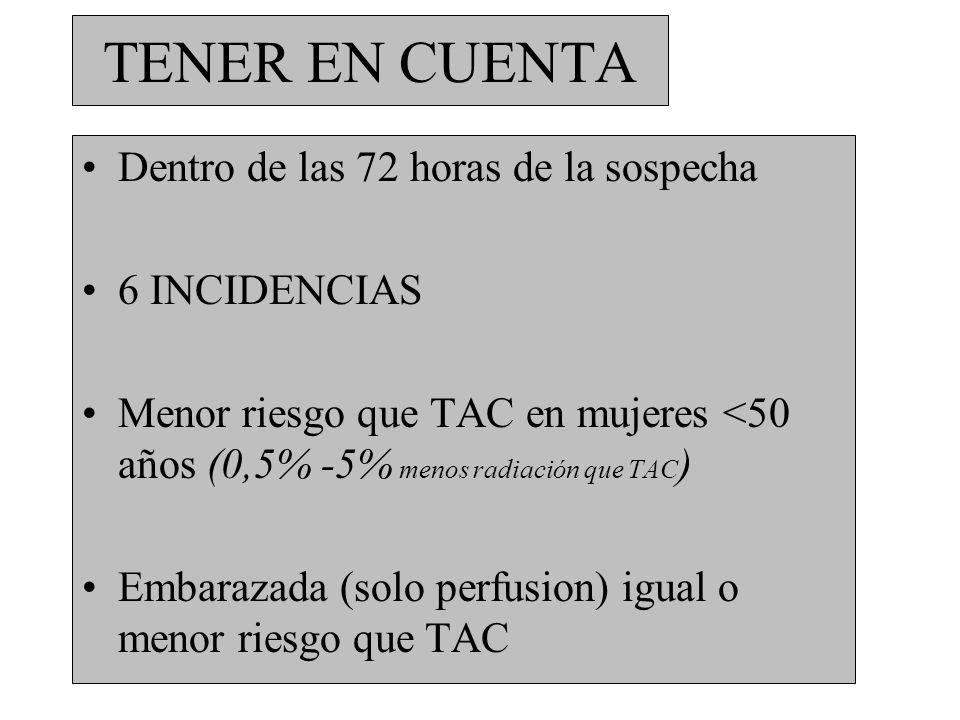 TENER EN CUENTA Dentro de las 72 horas de la sospecha 6 INCIDENCIAS Menor riesgo que TAC en mujeres <50 años (0,5% -5% menos radiación que TAC ) Embar