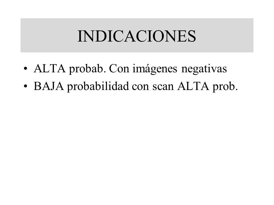 INDICACIONES ALTA probab. Con imágenes negativas BAJA probabilidad con scan ALTA prob.