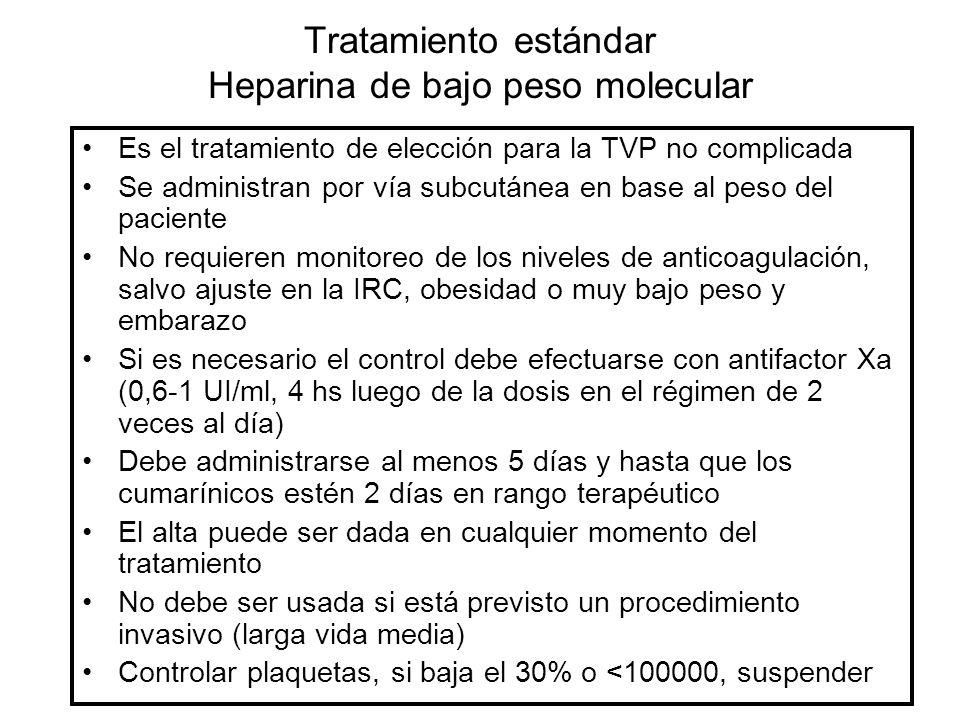 Tratamiento estándar Heparina de bajo peso molecular Es el tratamiento de elección para la TVP no complicada Se administran por vía subcutánea en base