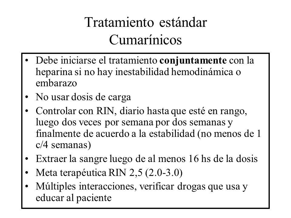 Tratamiento estándar Cumarínicos Debe iniciarse el tratamiento conjuntamente con la heparina si no hay inestabilidad hemodinámica o embarazo No usar d