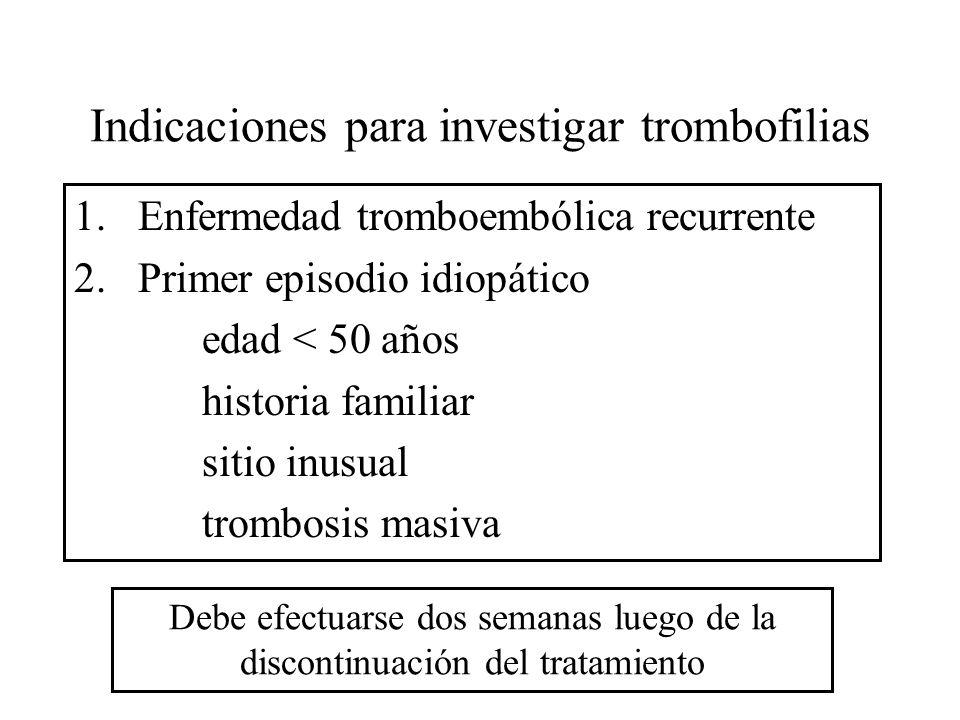 Indicaciones para investigar trombofilias 1.Enfermedad tromboembólica recurrente 2.Primer episodio idiopático edad < 50 años historia familiar sitio i