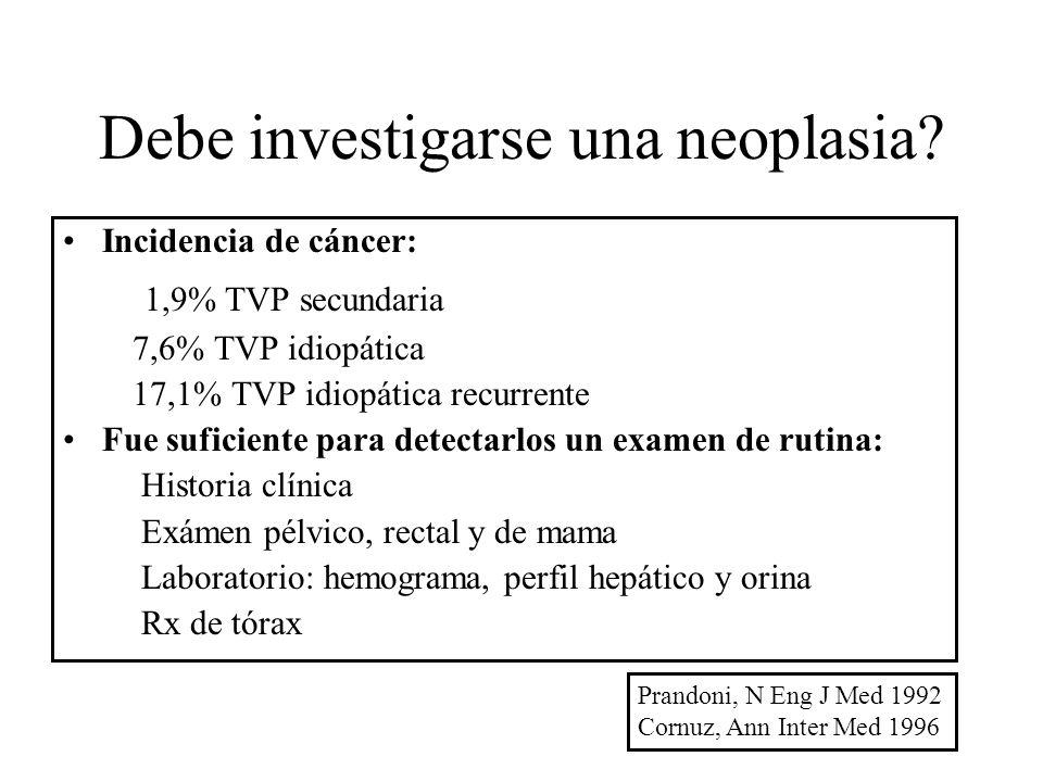 Debe investigarse una neoplasia? Incidencia de cáncer: 1,9% TVP secundaria 7,6% TVP idiopática 17,1% TVP idiopática recurrente Fue suficiente para det