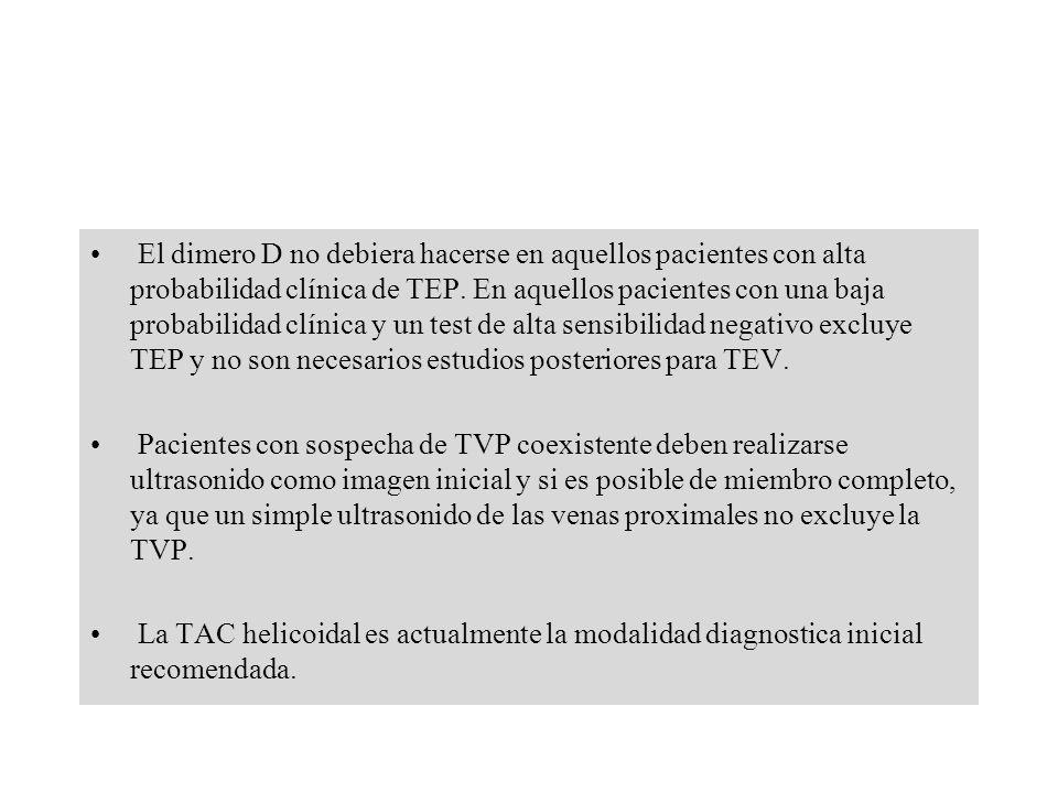 El dimero D no debiera hacerse en aquellos pacientes con alta probabilidad clínica de TEP. En aquellos pacientes con una baja probabilidad clínica y u