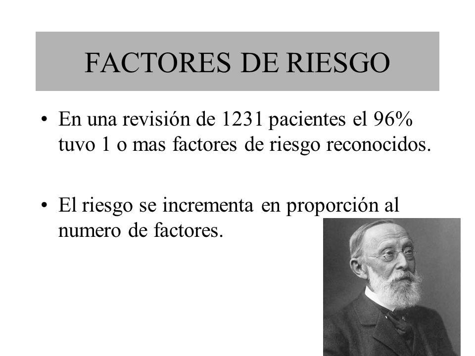 FACTORES DE RIESGO En una revisión de 1231 pacientes el 96% tuvo 1 o mas factores de riesgo reconocidos. El riesgo se incrementa en proporción al nume