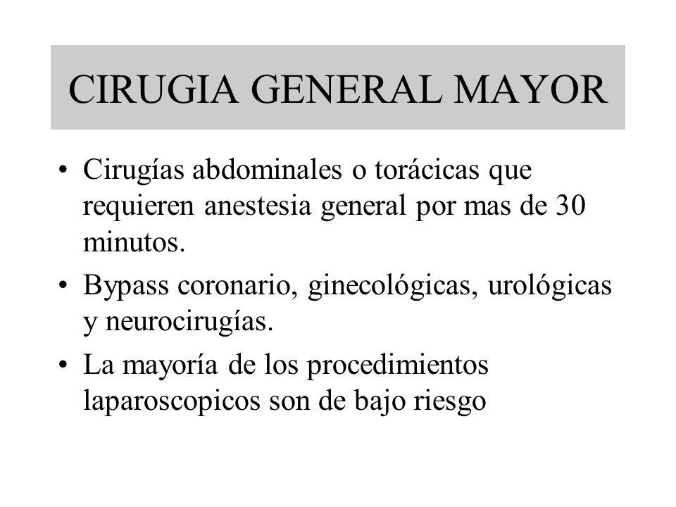 CIRUGIA GENERAL MAYOR Cirugías abdominales o torácicas que requieren anestesia general por mas de 30 minutos. Bypass coronario, ginecológicas, urológi