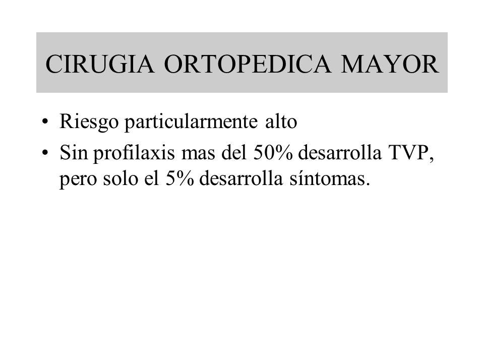 CIRUGIA ORTOPEDICA MAYOR Riesgo particularmente alto Sin profilaxis mas del 50% desarrolla TVP, pero solo el 5% desarrolla síntomas.