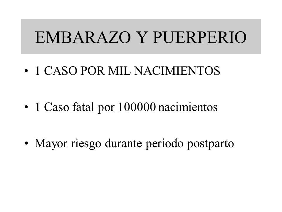 EMBARAZO Y PUERPERIO 1 CASO POR MIL NACIMIENTOS 1 Caso fatal por 100000 nacimientos Mayor riesgo durante periodo postparto