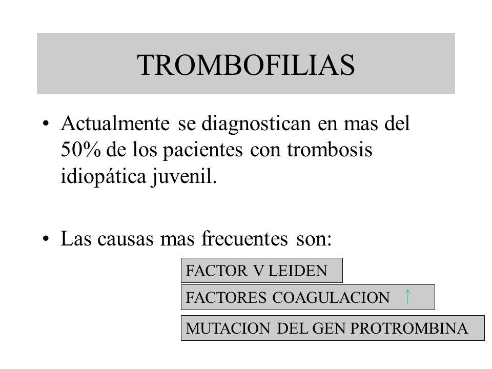 TROMBOFILIAS Actualmente se diagnostican en mas del 50% de los pacientes con trombosis idiopática juvenil. Las causas mas frecuentes son: FACTOR V LEI
