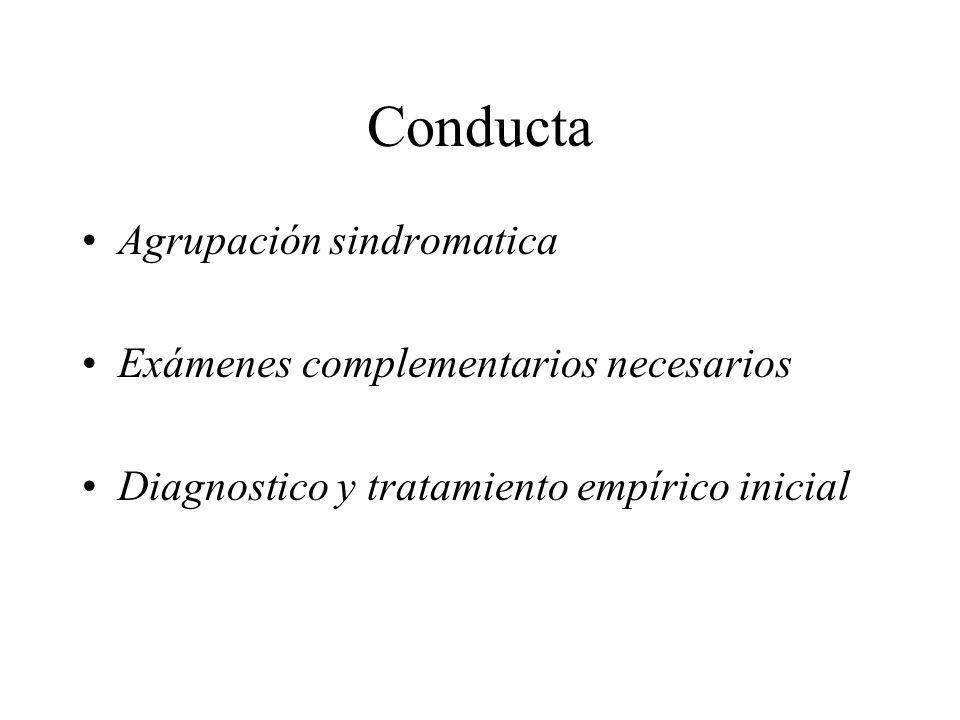Conducta Agrupación sindromatica Exámenes complementarios necesarios Diagnostico y tratamiento empírico inicial
