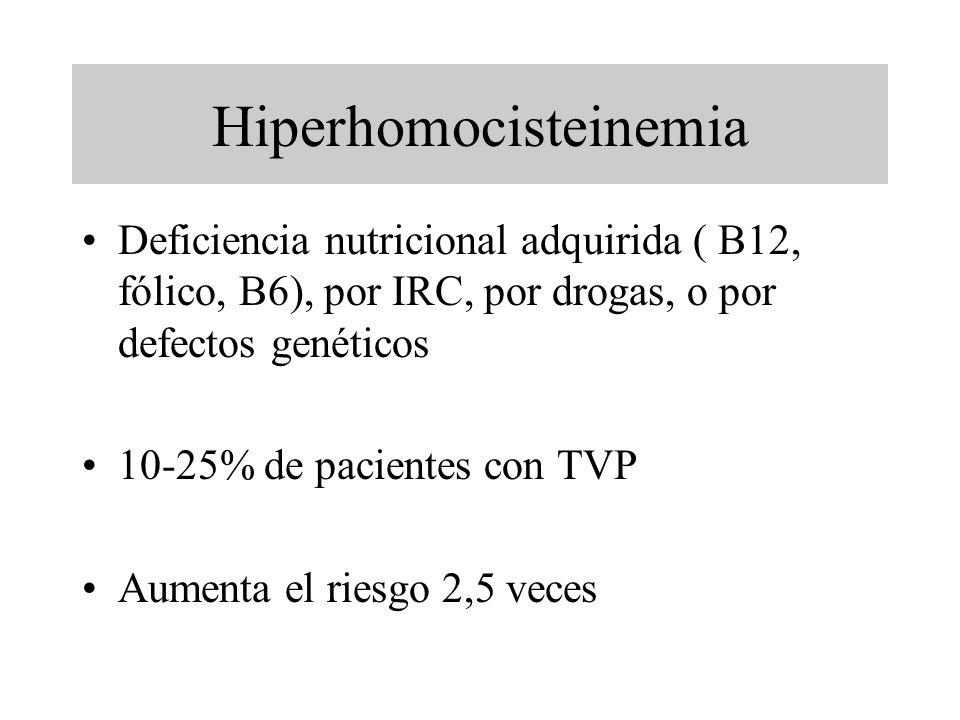 Hiperhomocisteinemia Deficiencia nutricional adquirida ( B12, fólico, B6), por IRC, por drogas, o por defectos genéticos 10-25% de pacientes con TVP A