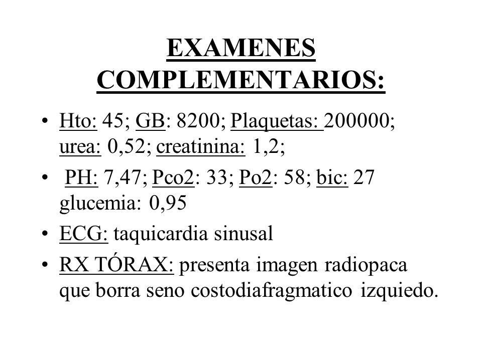 EXAMENES COMPLEMENTARIOS: Hto: 45; GB: 8200; Plaquetas: 200000; urea: 0,52; creatinina: 1,2; PH: 7,47; Pco2: 33; Po2: 58; bic: 27 glucemia: 0,95 ECG: