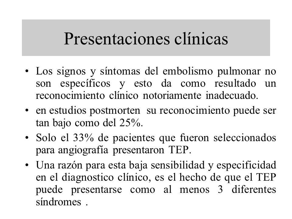 Presentaciones clínicas Los signos y síntomas del embolismo pulmonar no son específicos y esto da como resultado un reconocimiento clínico notoriament